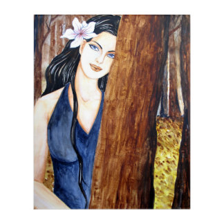 Girl in the Forest by Farida Greenfield Acrylic Wall Art
