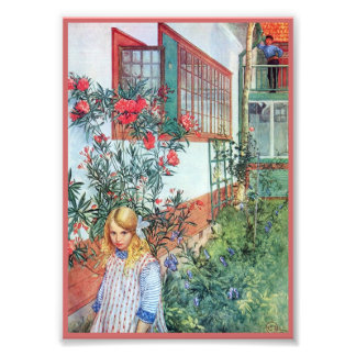 Girl in the Garden with Red Flowers Photo Print