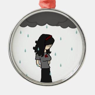 Girl in the rain 1 christmas tree ornament