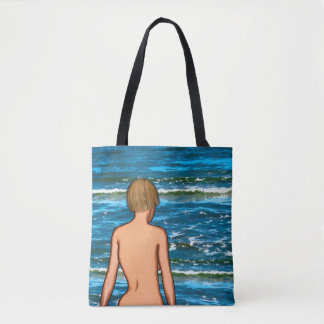 Girl in the Sea Painting Tote Bag