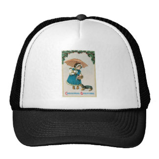 Girl in the Snow on Christmas with Cat and Dog Trucker Hat