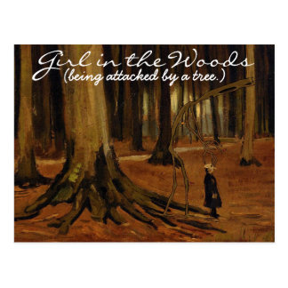 'Girl in the Woods' Postcard