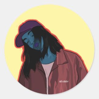 Girl in town round sticker
