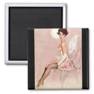 Girl in Wicker Chair Pin Up Art Square Magnet