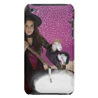 Girl in witch costume stirring cauldron iPod touch cases