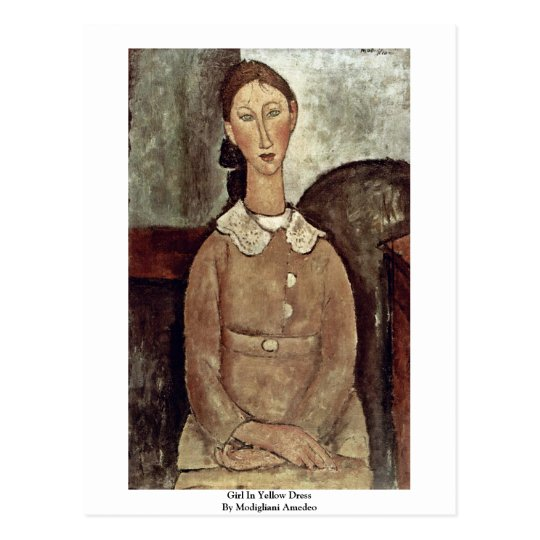 Girl In Yellow Dress By Modigliani Amedeo Postcard