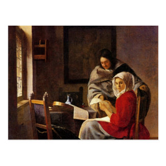 Girl interrupted in her music by Johannes Vermeer Postcard