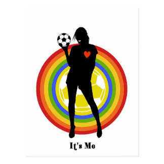 girl it s me soccer player and big fans post card
