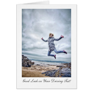 Girl Jumping For Joy - Good Luck on Driving Test Card