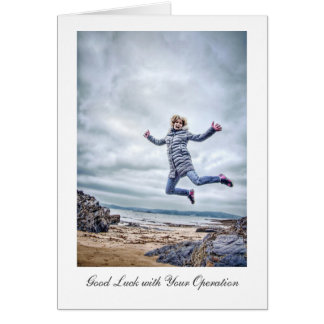 Girl Jumping For Joy - Good Luck with Operation Greeting Card