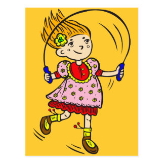 Girl Jumping Rope Postcard