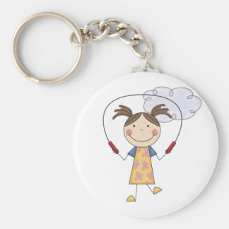 Girl Jumping Rope  T-shirts and Gifts Basic Round Button Key Ring