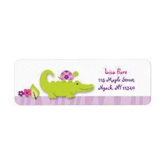 Girl Jungle Alligator Turtle Address Labels