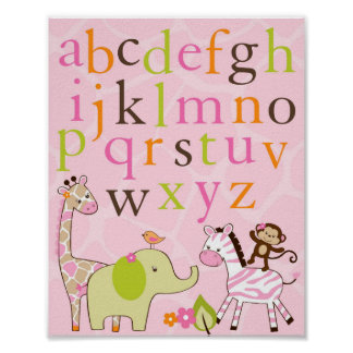 Girl Jungle Animal Alphabet Nursery Wall Art Print