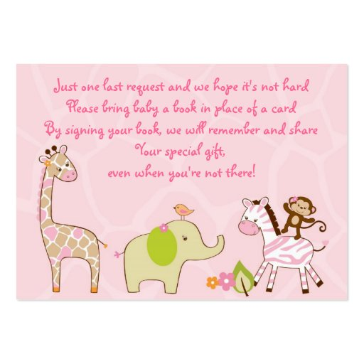 Girl Jungle Animal Baby Shower Book Request Cards Business Card Templates