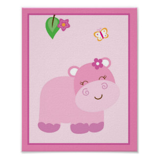 Girl Jungle Animal Hippo Nursery Wall Art Poster
