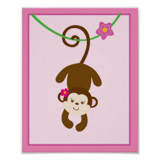 Girl Jungle Animal Monkey Nursery Wall Art