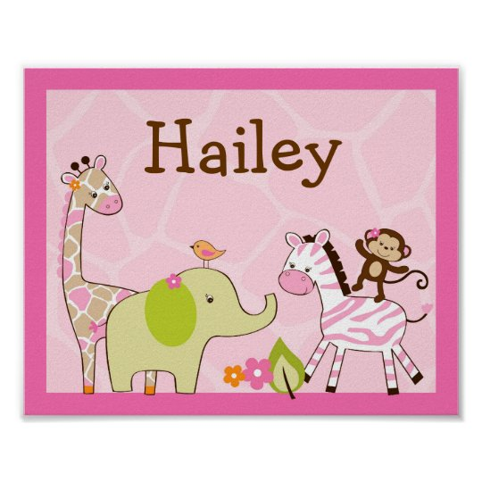Girl Jungle Animal Nursery Wall Art Name Print