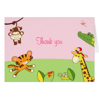 Girl Jungle Animal Rainforest Thank You Note Cards