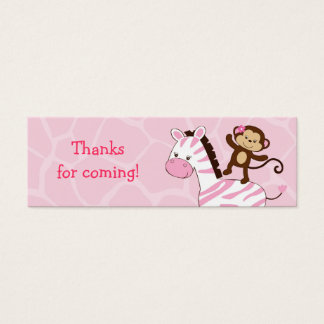 Girl Jungle Monkey Baby Shower Favor Gift Tags