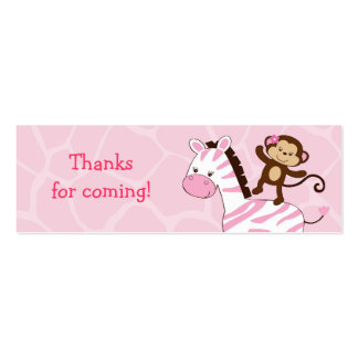 Girl Jungle Monkey Baby Shower Favor Gift Tags Business Cards