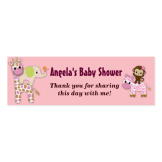 Girl Jungle Safari Baby Shower Favor Gift Tags Pack Of Skinny Business Cards