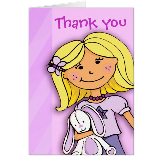 Girl Kids birthday party thank you card