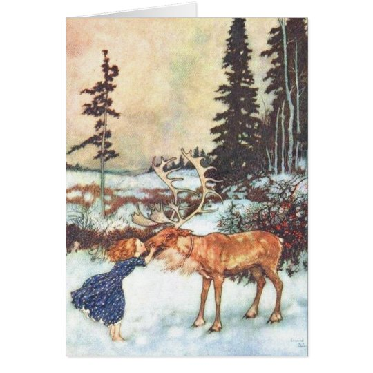 """Girl kissing a reindeer"" Vintage Christmas card"