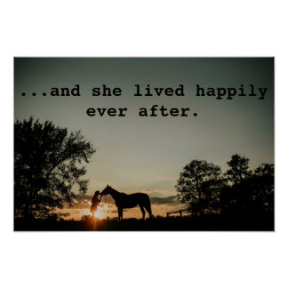 Girl Kissing Horse She Lived Happily Ever After Poster