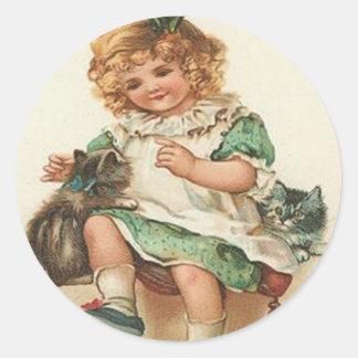 Girl Kitten Cat Birthday Classic Round Sticker