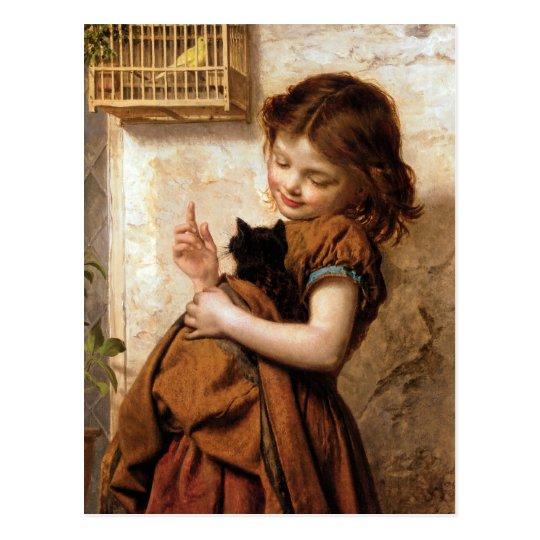 Girl, Kitty Cat & Bird - Vintage Painting