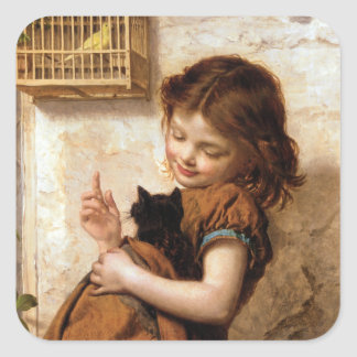 Girl, Kitty Cat & Bird - Vintage Painting Square Sticker