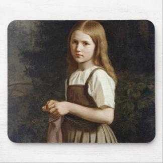 Girl Knitting, 1854 Mouse Mat