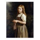 Girl Knitting, 1854 Postcard