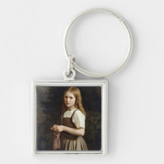 Girl Knitting, 1854 Silver-Colored Square Key Ring