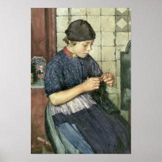 Girl Knitting Poster