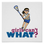 Girl Lacrosse Player in Blue Poster