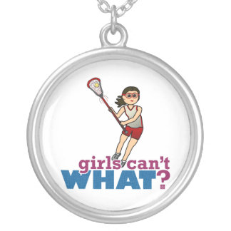 Girl Lacrosse Player in Red Custom Necklace