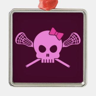 Girl Lacrosse Skull Christmas Ornament