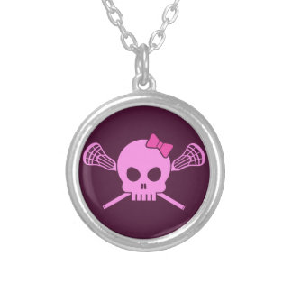 Girl Lacrosse Skull Round Pendant Necklace