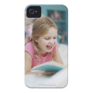 Girl laying in bed reading book iPhone 4 case