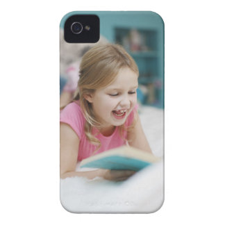 Girl laying in bed reading book iPhone 4 Case-Mate cases