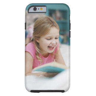 Girl laying in bed reading book tough iPhone 6 case
