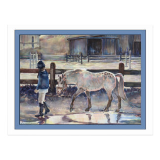 Girl Leading Her Pony Artwork Postcard
