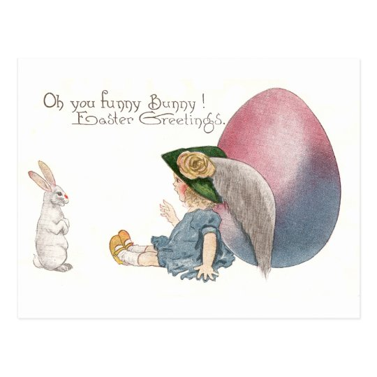 Girl Leaning on Easter Egg Spies White Rabbit Postcard