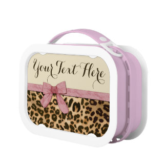 Girl Leopard Print Baby Pink Bow Lunch Box