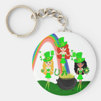 Girl Leprechauns Rainbow and Pot of Gold Basic Round Button Key Ring