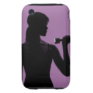 girl lifting dumbbell on purple background iPhone 3 tough cover