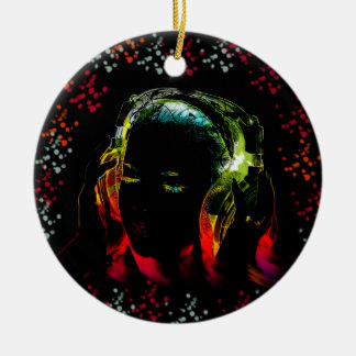 Girl Listening Music Headphones Neon Colors Gifts Christmas Ornament