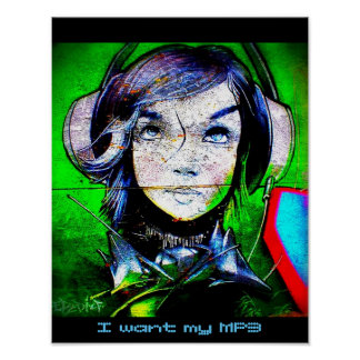 Girl listening to music - I want my MP3 - Poster